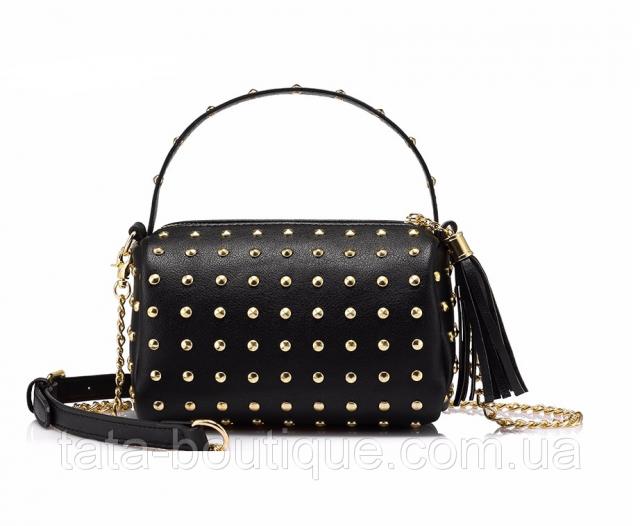 dda199900118 Маленькая женская сумка клатч черная с заклепками код 3-373|escape:'html