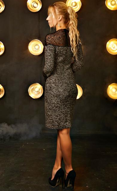 86f992e97b2424f Платье с кружевом «Нелли» коричневого цвета: продажа, цена в ...