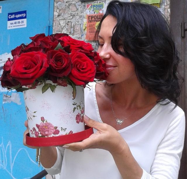 Цветы в коробке «I Love You»