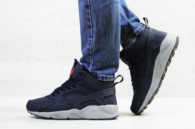 ddda804c Подростковые зимние кроссовки Nike Huarache, синие с серым, на меху ...