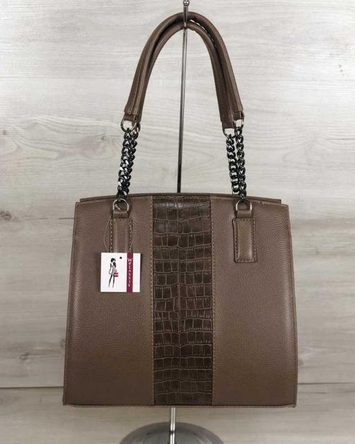 4a0f5a272a43 Каркасная женская сумка Адела кофейного цвета со вставкой кофейный крокодил