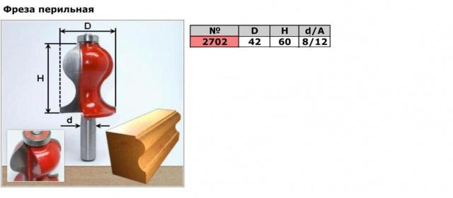 Код товара: 2702.    ( D42 H60)  Фреза перильная (кромочная Фигурная)