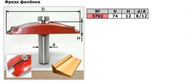Фреза филёнка( D74 H12) . Код товара: 3702