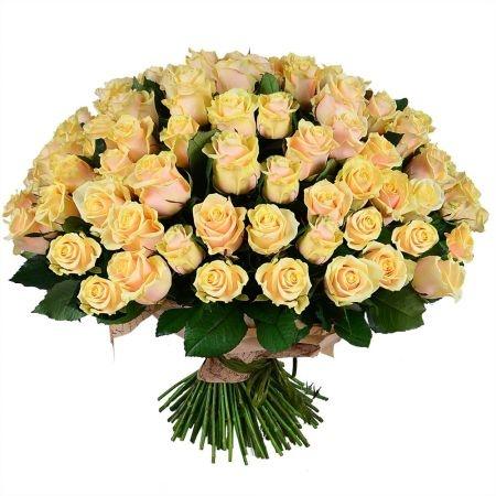 Букет «101 кремовая роза»