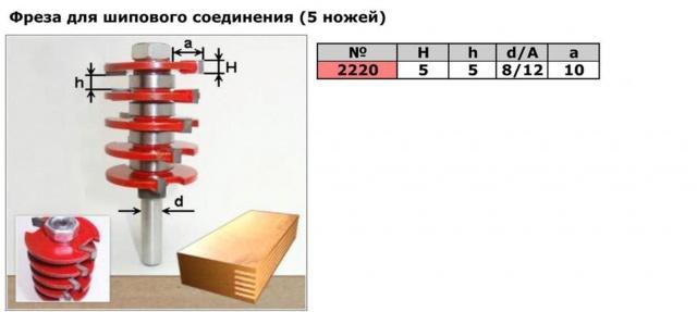 Код товара: 2220. 5х-ножевая фреза для шипового соединения (для сращивания )