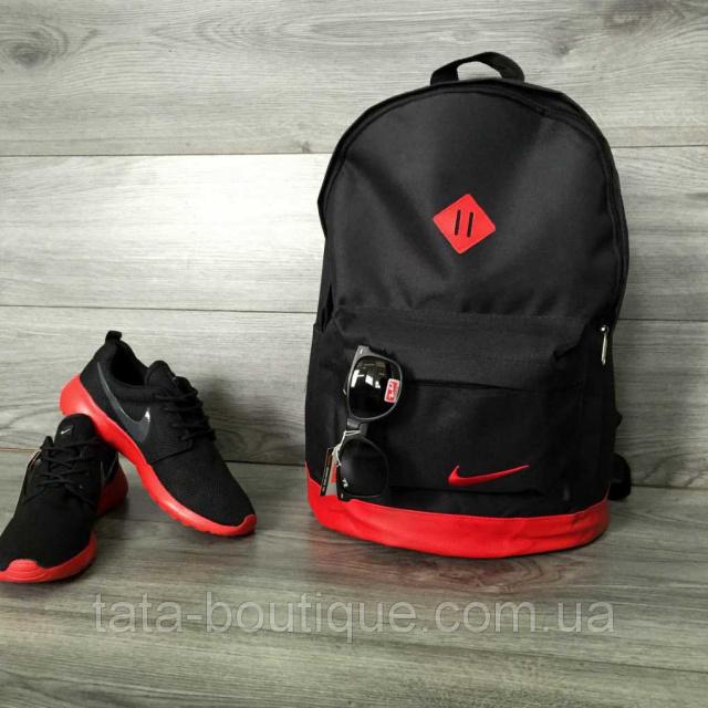 25c77821 Рюкзак городской Nike (Найк) кожаное дно, спортивный. Черный с красным  вставками. Молодежный, стильный.