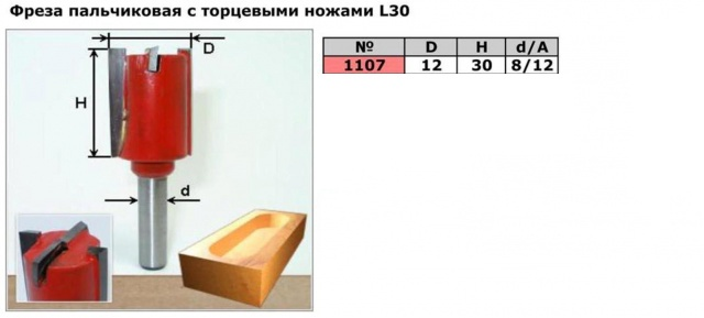 Код товара: 1107. (D12 H30) Фреза пазовая с торцевыми ножами L30