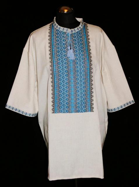 Вишиванка чоловіча з блакитним тканим орнаментом