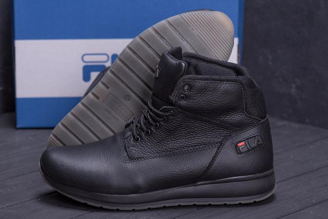 Мужские зимние кожаные ботинки FILA Soft Men Black (реплика): продажа, цена в Киеве, OBNOVA