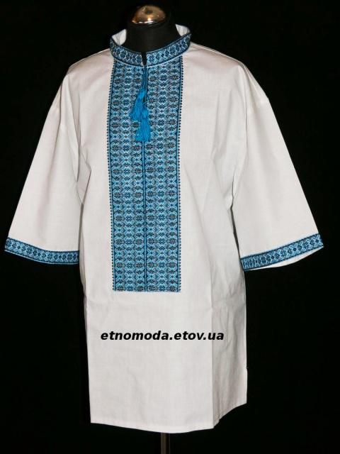 Чоловіча святкова вишиванка з блакитним орнаментом. 5f5d9c8c0f953