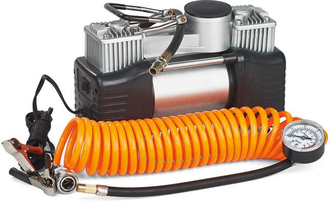 Миникомпрессор автомобильный двухпоршневой, 12В, 12бар, 60л/мин, набор адаптеров (3шт) Miol