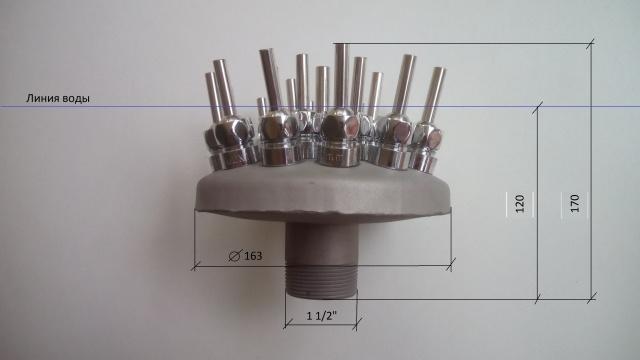 Форсунки (насадки) для фонтана Вулкан из нержавеющей стали 19 струй