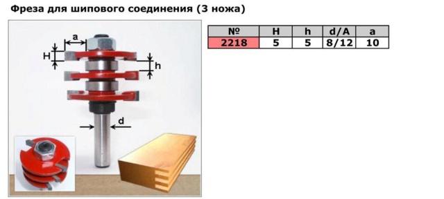 Код товара: 2218.     3х-ножевая фреза для шипового соединения (для сращивания )