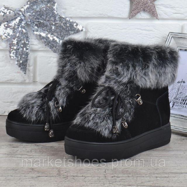 44f00728 Ботинки женские зимние замшевые натуральный мех на платформе Rosso опушка  кролик, Черный, 37