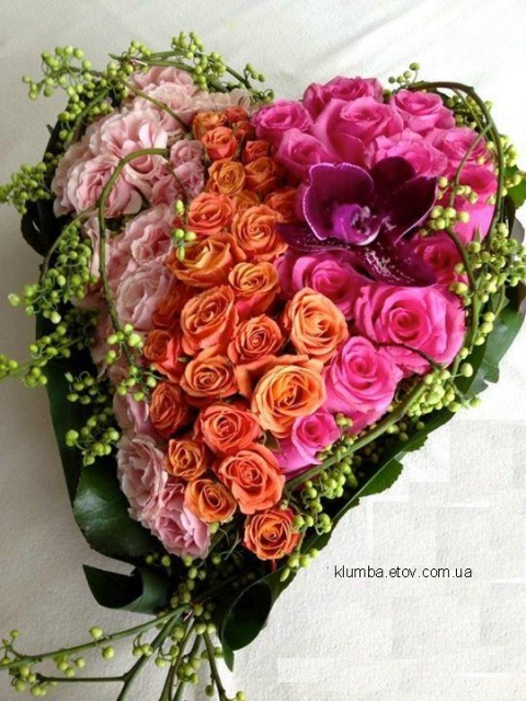 Сердце из 71 розы