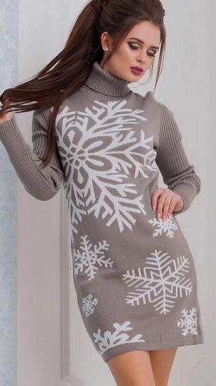 44 50 вязанная туника недорого купить снежинки вязаное платье