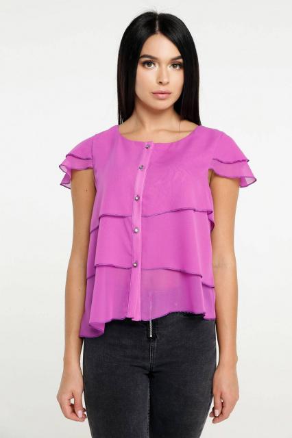 d7d7016363f Блуза Л-1041 Шифон Тон 30. Блуза женская летняя романтического стиля  трапецивидного силуэта. Блуза выполнена из трех разноуровневых слоев  ассиметричного ...