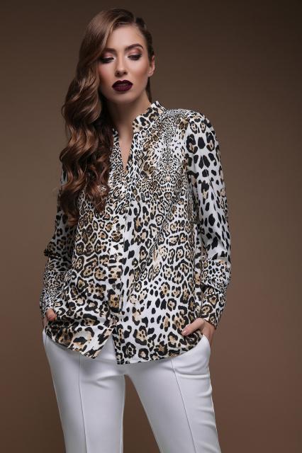 1baea26e223 GLEM Леопард блуза Эльвира д р