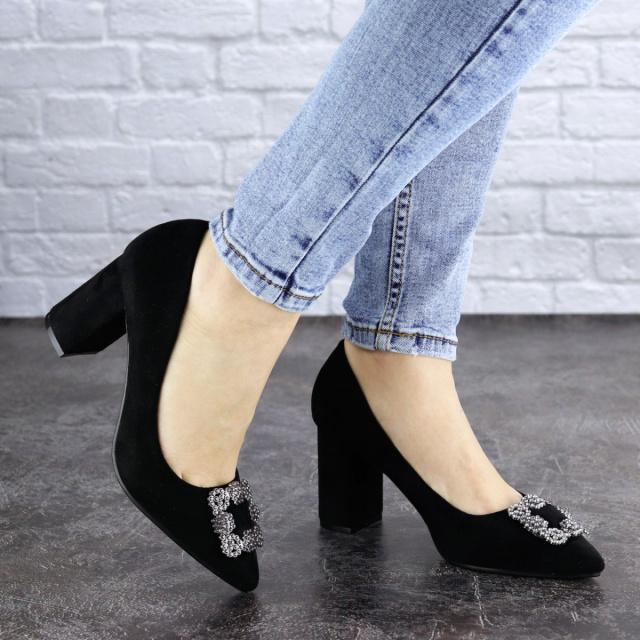 Женские туфли на каблуке черные Angie