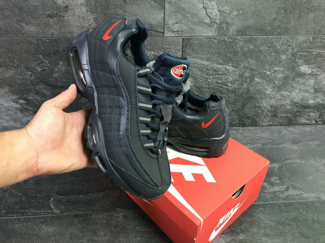 c8161f47 В наличии размеры: 42, 45, 44, 42 Зимние мужские кроссовки темно синие Nike  Air Max 95 6345 Производитель: Вьетнам Сезон: зимние Материал: кожа