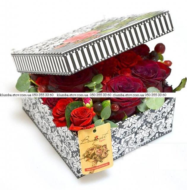Изысканная композиция из роз в коробке