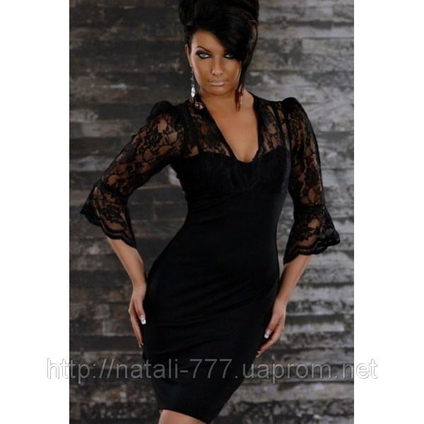 Платье женское  вечернее гипюр полиэстр ПРИЗМА-в черном 42,44,46,48р,в красном-42 и 44
