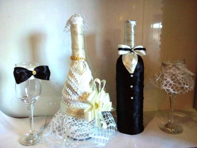 Весільний комплект (2 бокали + 2 пляшки) №1