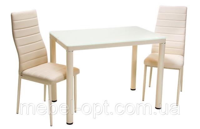 стол обеденный прямоугольный т 300 1 металлический каркас кремового цвета каленое стекло кремового цвета