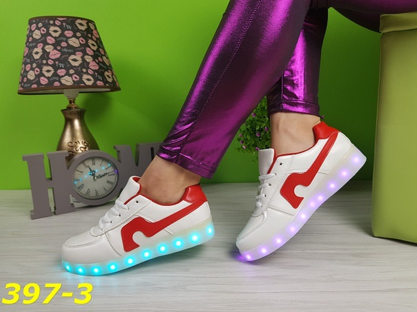 Женские белые кроссовки LED подсветка bf21c6684dd7c