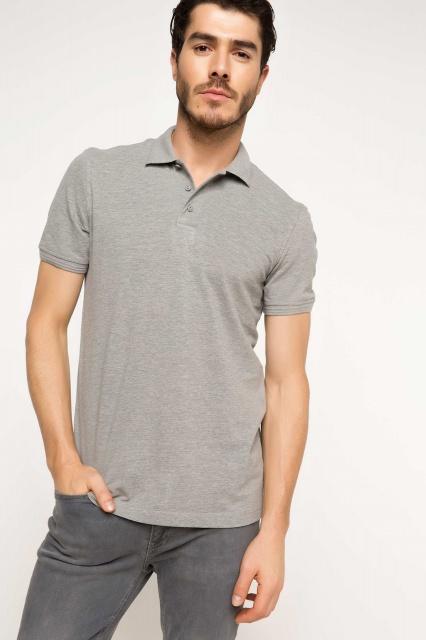 74d8ebe98ee21 Мужская футболка поло DeFacto Цвет - серый Размер S Материал: 50% Хлопок, 50%  полиэстер