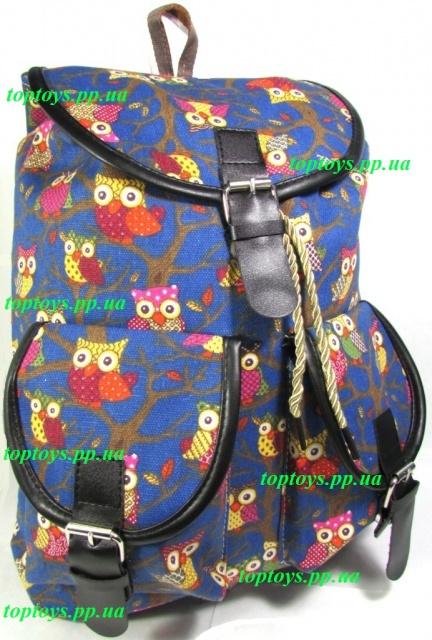 e499b81546cf Рюкзак женский городской молодёжный модный тканевый Совы. Хит продаж!