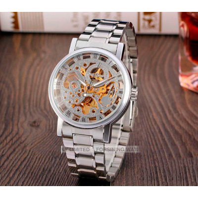 eddee4334713 Мужские наручные механические c автоподзаводом часы скелетон Winner  BestSeller Gold&Silver ...