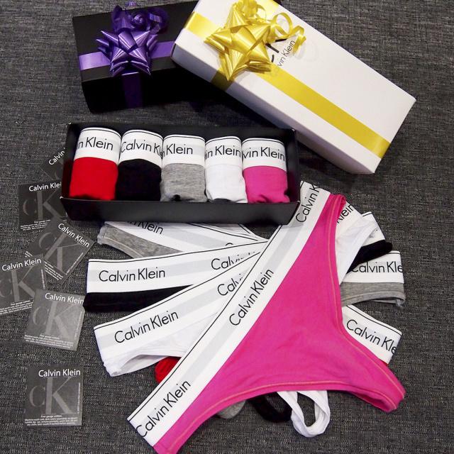 fa1a1853b9bd7 Подарочный набор женского нижнего белья Calvin Klein 365 Кельвин трусики  стринги узкая резинка 3шт реплика