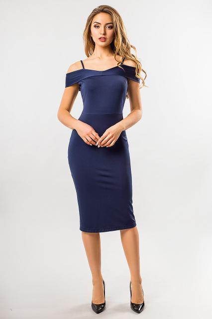 Темно-синее платье на бретелях